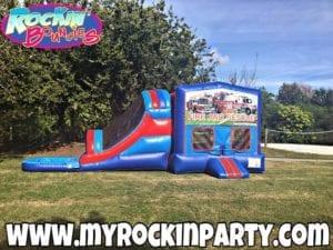 Rockin Bouncies Fire Truck Inflatable Bounce House