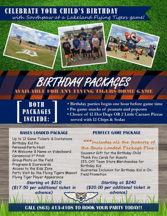 Lakeland Flying Tigers Birthday Flyer