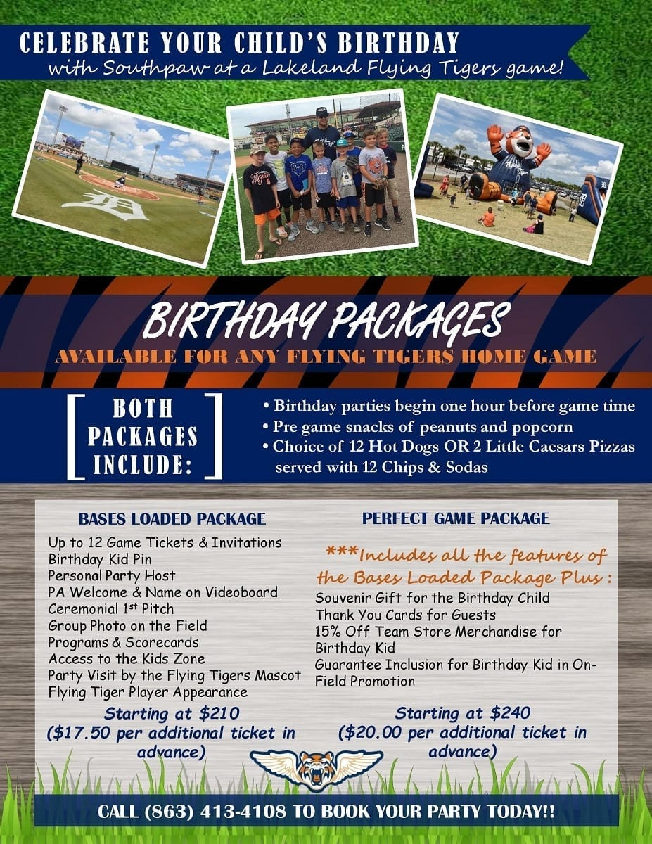 Lakeland Flying Tigers Birthday Parties