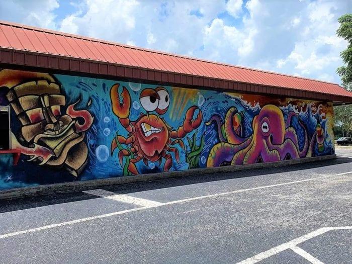 Lakeland Murals Red Crab Octapus Gaslight Tattoo