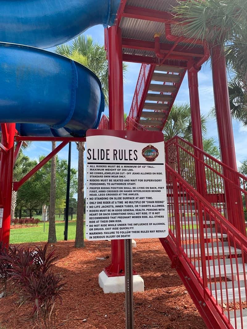 Lake Eva Water Park Slide Rules
